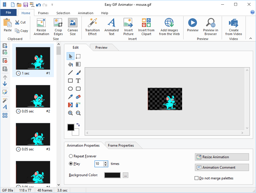 Easy GIF Animator - animated GIF image editor for Windows